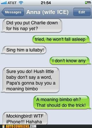 autocorrect baby bimbo lullaby moaning bimbo mockingbird parenting singing - 5415267840