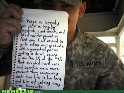 army hard work Occupy Wall Street school study uh oh