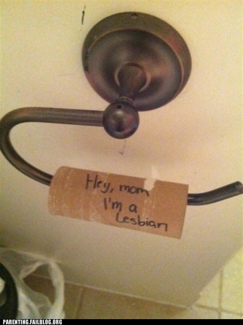 coming out,message,mom,note,Parenting Fail,toilet paper
