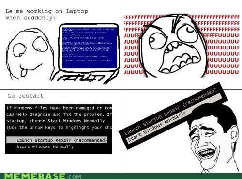 bsod computers Rage Comics start windows normally