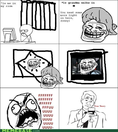 glare,grandma,light,Rage Comics