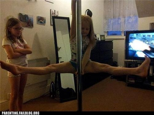 exercise gymnastics naughty or nice Parenting Fail pole dance stripper pole wait what