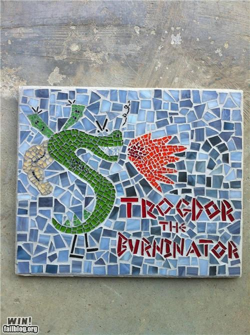art,cartoons,DIY,homestar runner,mosaic,trogdor