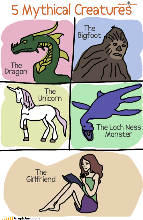 best of week,bigfoot,comics,dragon,forever alone,girlfriend,loch ness monster,mythical creature,unicorn