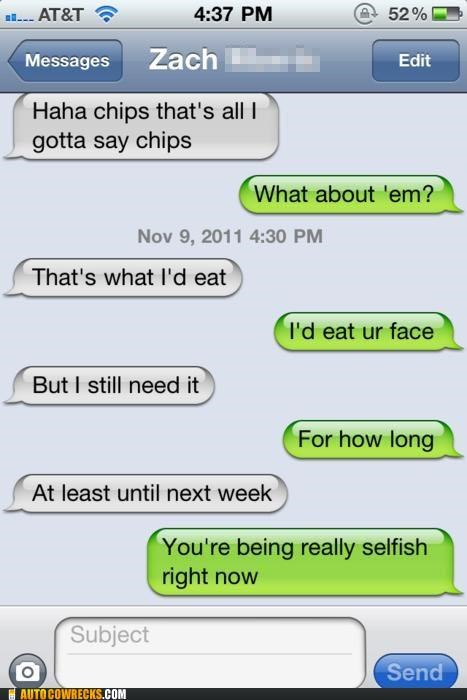 chips eating face flirting - 5416408576