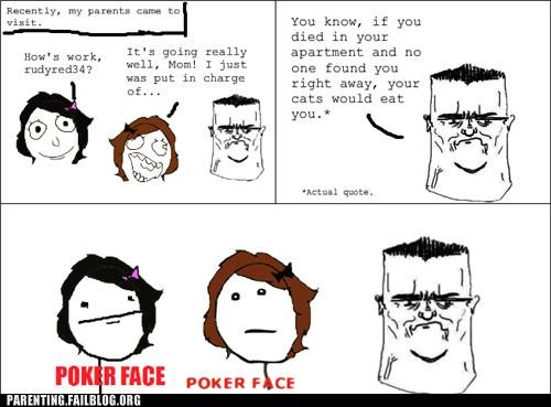 Cats creepy dad Parenting Fail pets poker face rage comic wait what