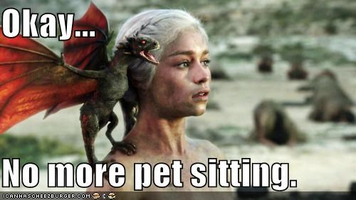 Daenerys Targaryen,dragon,Emilia Clarke,Game of Thrones,pet,sitting