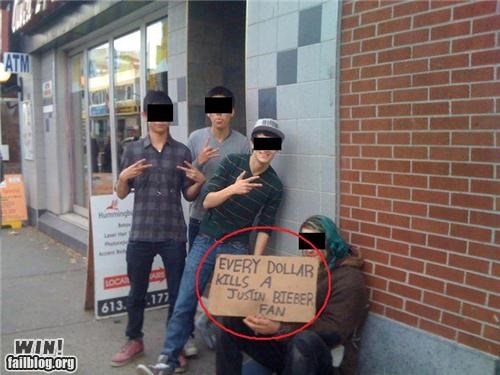 bieber fever,celeb,change,homeless,justin bieber,money,panhandling