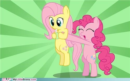 cute dawww fluttershy pinkie pie ponies - 5417605632