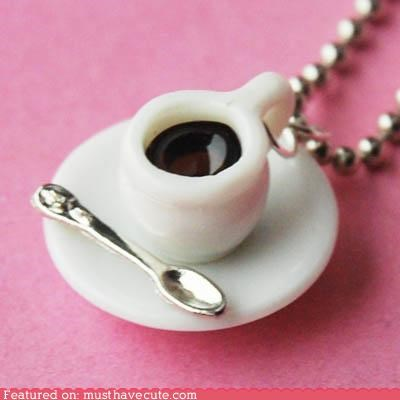 black chain coffee cup Jewelry necklace pendant saucer spoon - 5417620224