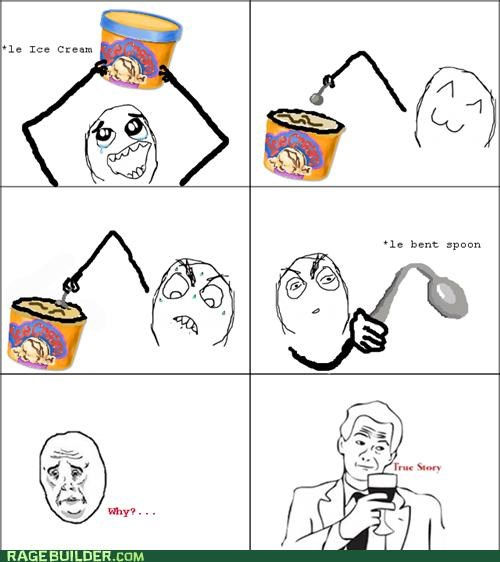 bent,ice cream,Rage Comics,spoon