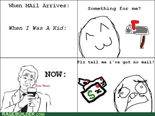 adulthood bills mail Rage Comics