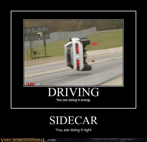 doing it right,hilarious,sidecar,wreck