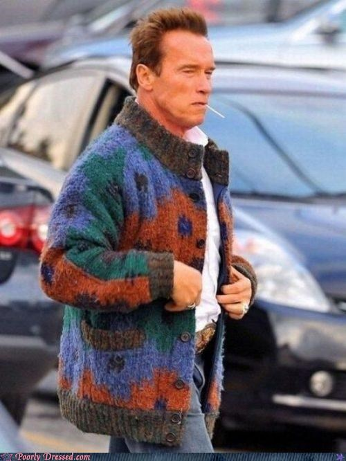 action hero Ahnold bad sweater Predator