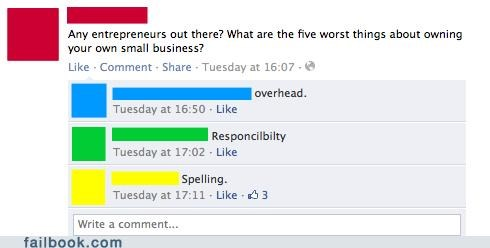 business,spelling,witty reply