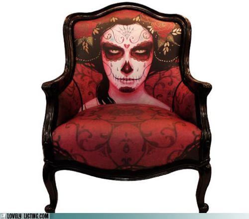 armchair,chair,dia de los muertos,face,print