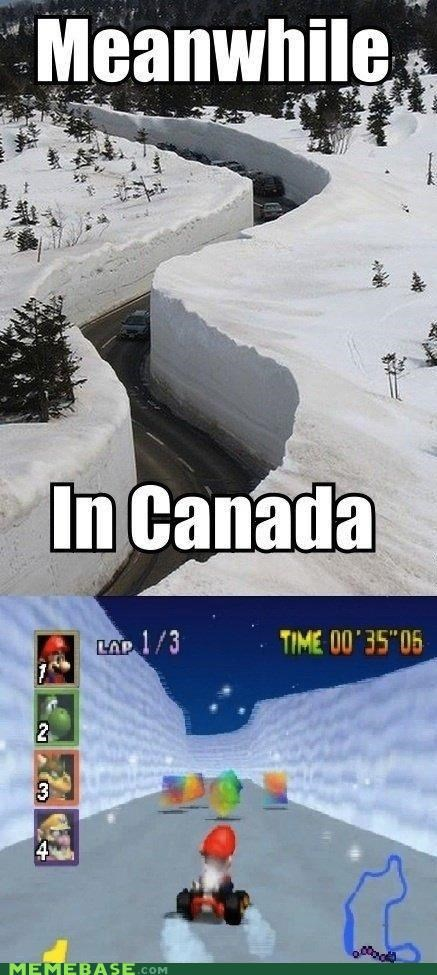 Canada,levels,Mario Kart,Memes,nintendo,snow,video games