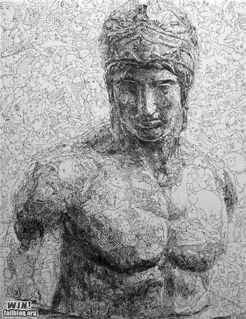 art,bust,crazy,detail,doodle,greek,roman
