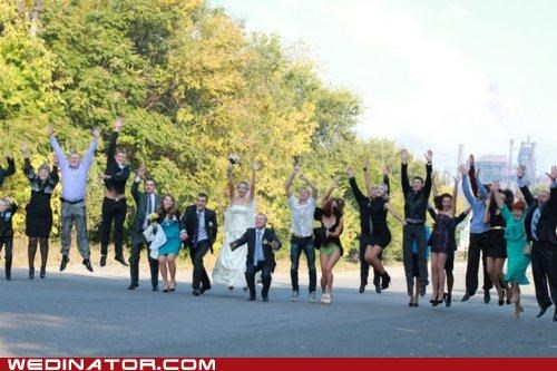 bride,bridesmaids,FAIL,funny wedding photos,groom,jump,oops,panties,underwear