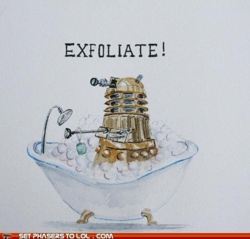 art,bathroom,dalek,doctor who,exfoliate,Exterminate