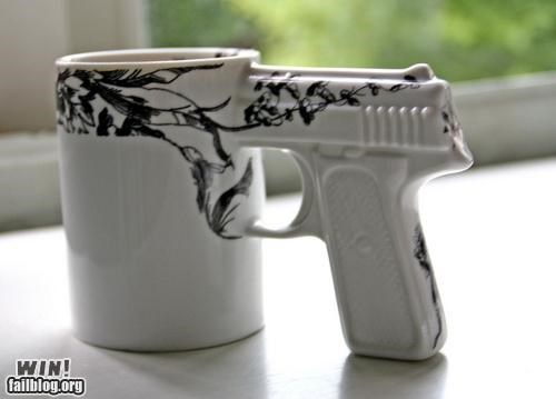 art,coffee,design,gun,mornings,mug