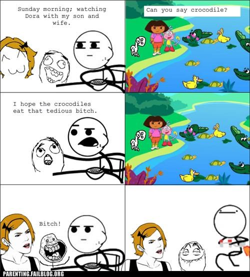 cartoons cuss dora the explorer kids show language Parenting Fail rage comic swears - 5420069376