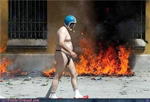 on fire,underwear,wear a helmet
