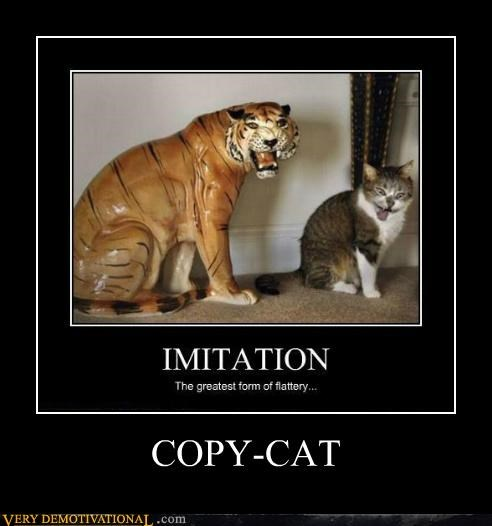 cat copy hilarious imitation statue tiger