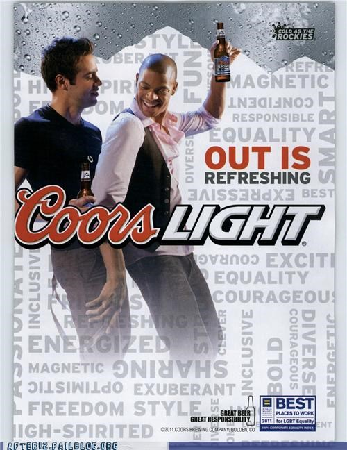 Ad beer bromance coors drinking dudes guy love LGBT rainbow win - 5420289024