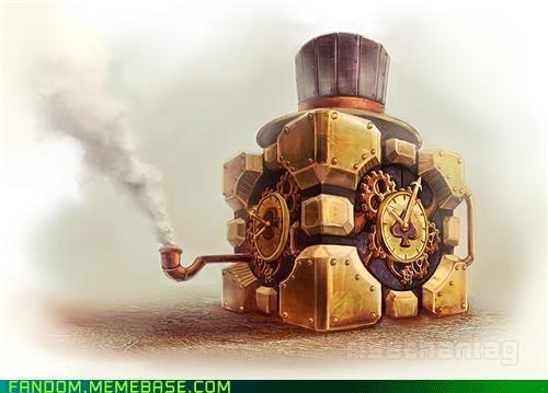 companion cube,Fan Art,Portal,Steampunk,video games