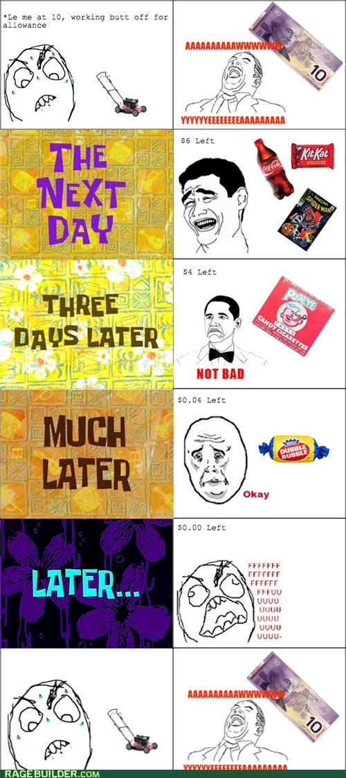 allowance,job,lawn mower,Rage Comics