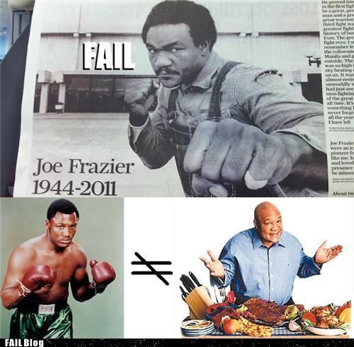 Sports FAILure: Hong Kong Paper Pays Tribute To Joe Frazier With Picture Of George Foreman