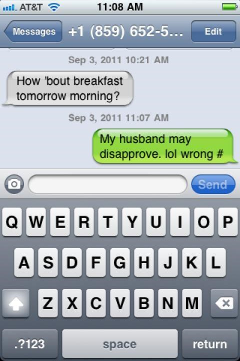 breakfast,date,dating,husband,married,wrong number