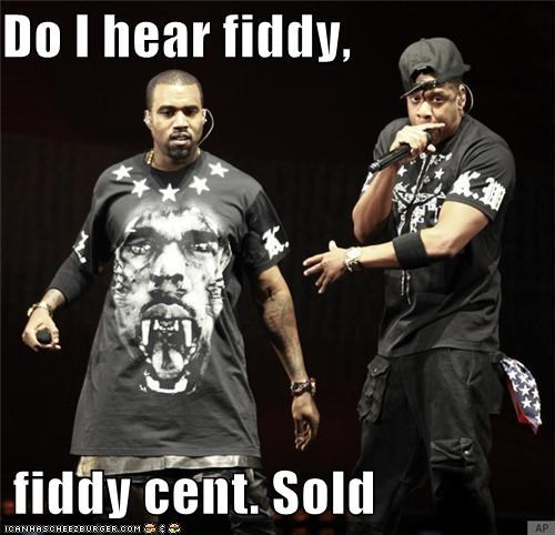 50cent auction fifty cents Jay Z kanye west rap roflrazzi sold