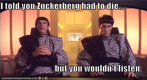 die facebook Mark Zuckerburg romulans Star Trek