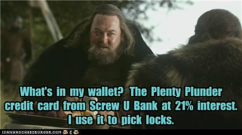 bank,credit card,Game of Thrones,locks,Mark Addy,Robert Baratheon