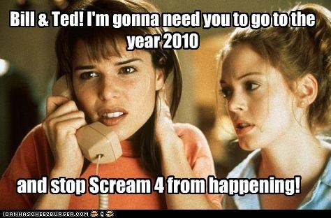 bill and ted help neve campbell phones rose mcgowan scream scream 4 sequels stop - 5421935616