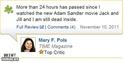 adam sandler,clever,Jack And Jill,Movie,review,rotten tomatoes,Sad,soul crushing