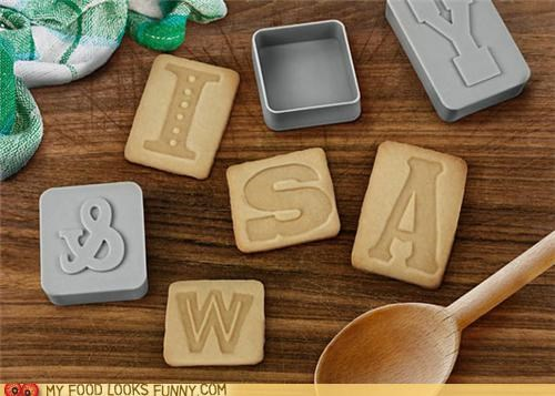 cookie cutters,cookies,letters,mismatched,ransom note