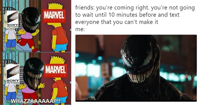 Funny memes about Venom, venom memes, venom trailer, tweets, twitter, marvel, tom hardy, riz ahmed, topher grace, tumblr.
