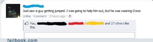 crocs,fight,jumped,witty status