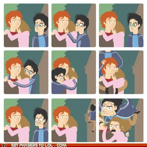 comic,harry,Harry Potter,hermione,hug,Ron Weasley