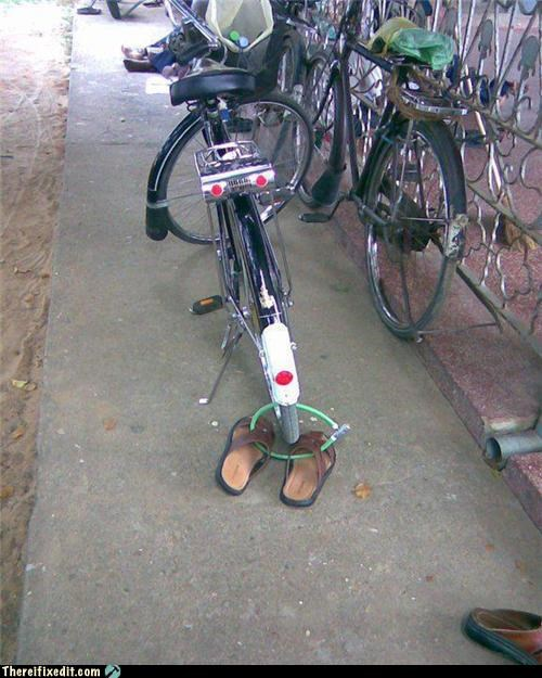 bike,dual use,flip flops,locked up