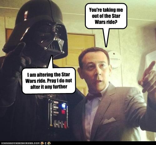 darth vader,disneyland,im-altering-the-x,Pee-Wee Herman,ride,Star Tours,star wars