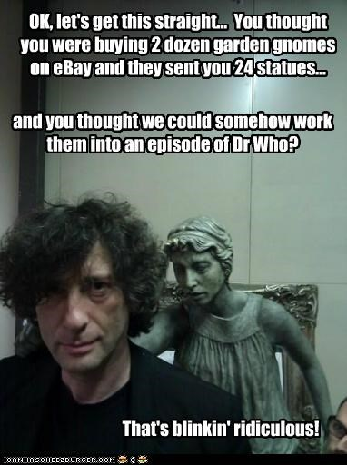 blink,doctor who,neil gaiman,ridiculous,statues,weeping angels
