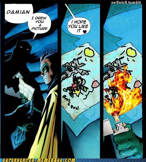 art Awesome Art batman damian fire robin - 5425854976