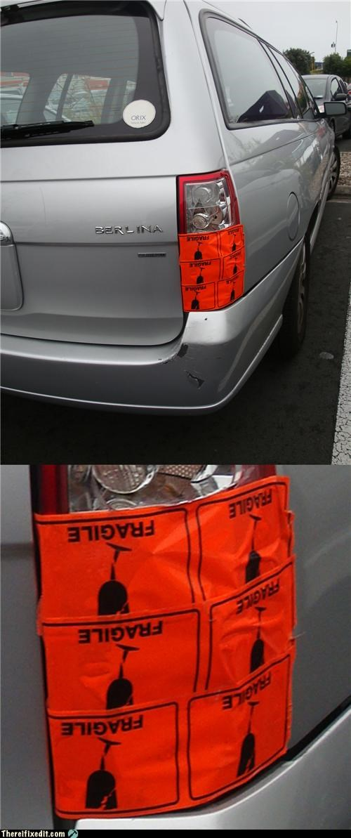 cars dual use fragile lights sticker