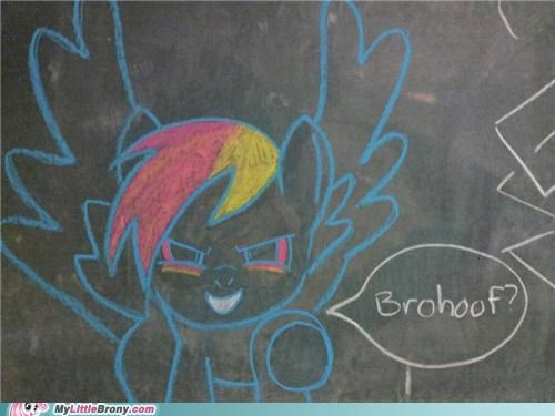 brohoof,chalkboard,drawing,IRL,rainbow dash