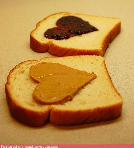 bread,epicute,hearts,jelly,peanut butter,sandwich