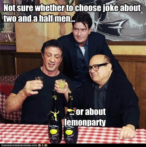 Charlie Sheen danny devito Hall of Fame jokes lemon party Sylvester Stallone two and a half men - 5427873280